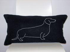 Black Linen Hand Embroidered Dachshund Lumbar Pillow