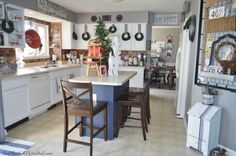 Holiday Home Tour 2015 | The Other Side of Neutral  Christmas Kitchen decor, farmhouse Christmas, vintage, rustic, painted cabinets, brick back splash, plaid,