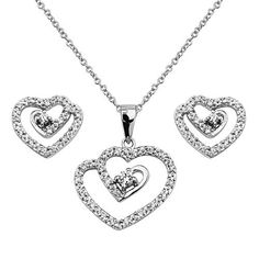 ".925 Sterling Silver CZ Interlocking Hearts Earrings and Matching Pendant-Necklace Set with 1.2mm Cable Rolo Chain - 16""+1"" Inches Extension The World Jewelry Center. $62.95. Special manufacturing process held to ensure less wear, tarnish, and rust.. From our exclusive Shimmering Collection, this item showcases the finest Stainless Steel designs available today!. Promptly Packaged with Free Gift Box and Gift Bag"