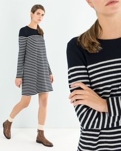 Easy piece. This wool dress features blue and white stripes and is waiting for you on www.lazzarionline.net and in our stores. #Lazzari #Lazzaristore #LazzariGirl #foreverstripes