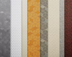 Tjep Cubism by Tjep for Wolf-Gordon. Wall coverings and upholstery and drapery fabrics by Frank Tjepkema make reference to the Czech cubism movement.