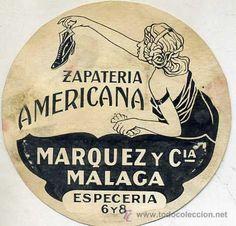 DIBUJO PUBLICITARIO ORIGINAL AÑOS 30 : ZAPATERÍA AMERICANA MÁLAGA - Foto 1