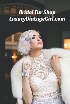 Winter Wedding Fur, Winter Wedding Outfits, Winter Bride, Vintage Fur, Vintage Gowns, Vintage Bridal, Force One, Great Gatsby Fashion, Gatsby Style