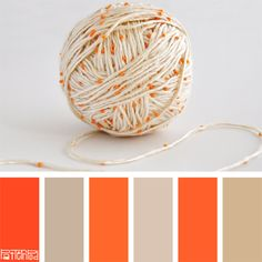 Color Palette, Yarn, Beads, Orange, Tan, Cream - If you like our color palettes, sign up for our trend letter on color, products and design! www.patternpod.com
