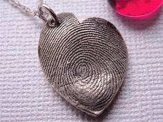 Custom Fingerprint Heart Necklace Sterling Silver Freeform Off Center Fingerprint Heart, Fingerprint Jewelry, Metal Clay Jewelry, Silver Jewelry, Dog Nose, Thing 1, Precious Metal Clay, Mold Making, Making Ideas
