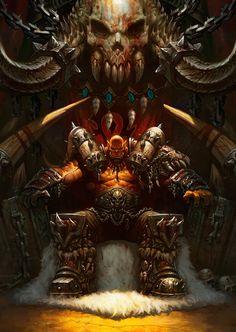 View an image titled 'Garrosh Hellscream Art' in our Hearthstone: Heroes of Warcraft art gallery featuring official character designs, concept art, and promo pictures. Warcraft Orc, Warcraft Movie, Warcraft Characters, Fantasy Characters, Fantasy World, Dark Fantasy, Karl Kopinski, Garrosh Hellscream, Grommash Hellscream