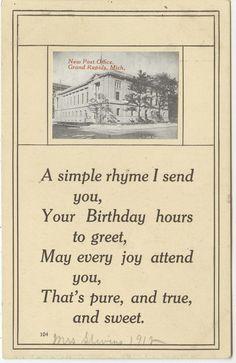 New Post Office/birthday postcard - 1912