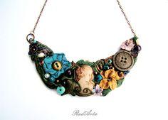 Cameo Statement Vintage Necklace Secret Time Bib Necklace Unique Jewelry Polymer Clay by RadArta by RadArtaDesign on Etsy https://www.etsy.com/listing/194134631/cameo-statement-vintage-necklace-secret