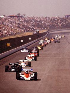 Ontario Motor Speedway California 500 1978 tom Sneva, Danny Ongais, Johnny Rutherford, Mario Andretti, Pancho Carter . Photo by Ron Paul