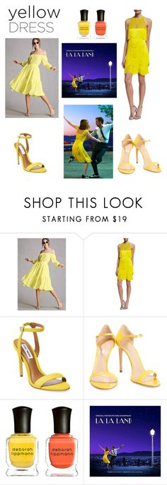 """Lala Land Yellow dresses"" by supersummerlover ❤ liked on Polyvore featuring Forever 21, Naeem Khan, Steve Madden, Casadei and Deborah Lippmann"