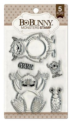 BoBunny - Clear Acrylic Stamps - Monsters
