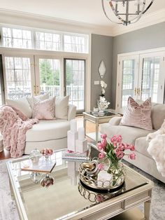 Stylish Home Decor & Chic Furniture At Affordable Prices Glam Living Room, Formal Living Rooms, Home And Living, Living Room Furniture, Living Room Decor Shabby Chic, Pink Living Rooms, Southern Living Rooms, French Living Rooms, Boho Decor