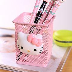 L57 Kawaii Hello Kitty Pink Berongga Logam Kasus Mahasiswa Alat Tulis Pensil Pena Kotak Penyimpanan Pemegang Berdiri Mengelola Rumah Tangga