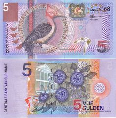 surinam currency | Pick# 146 - Centrale Bank Van Suriname 5 Guiden Note, 2000 Issue