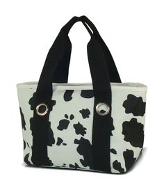 There's a style for everyone, in this cute black and white cow pattern lunch bag. Water resistant fabric with insulation and mini zipper pocket for id and cell phone. Immediate shipping from Simply Bags. Personalized Lunch Bags, Lunch Tote Bag, Cow Pattern, White Cow, Insulated Lunch Bags, Cow Print, Monogram, Mini, Monograms
