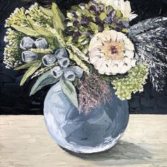[SOLD] Mixed Native and Hydrangea Posie by @sarahmcdonaldartist 65x65cm framed oil on linen - enquiries 0429301631 #paperpear #hydrangeas…