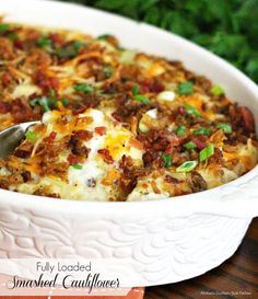 Fully Loaded Smashed Cauliflower - This Fully Loaded Smashed Cauliflower is an over-the-top Cauliflower side dish.