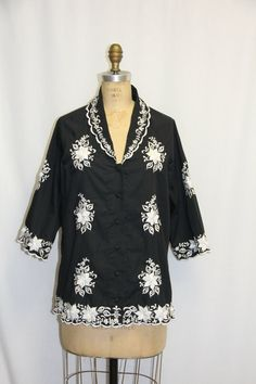 black and white vintage tunic