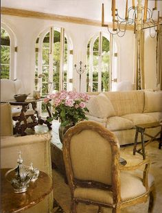 French style interior with gorgeous arched french doors. viacotedetexas.blogspot.com #interiors, #furniture, #french