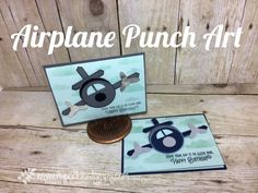 Airplane Punch Art, Stampin'Up! Punch, Daisy Punch, Classic Label Punch, Circle Punch, Life me Up, Diy Paper, Paper Art, Paper Crafts, Kid Crafts, Boy Cards, Kids Cards, Punch Art Cards, Craft Punches, Hand Stamped Cards