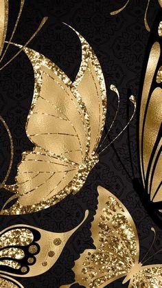 Flower Phone Wallpaper, Gold Wallpaper, Butterfly Wallpaper, Butterfly Art, Cellphone Wallpaper, Wallpaper Backgrounds, Iphone Wallpaper, Flower Art, Pretty Backgrounds