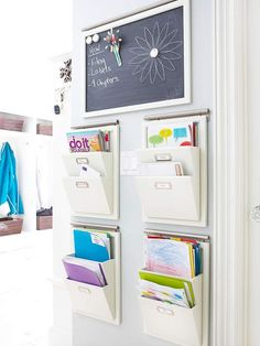 Drop Zone  Create a Drop Zone  When you're always on the go, it's hard to keep things organized. Rather than littering multiple surfaces with piles of paperwork and clothing, create one landing place for items such as mail and outerwear in your entry. Specify one location for your keys to live so you never have to search for them again. Set up file folders for mail.