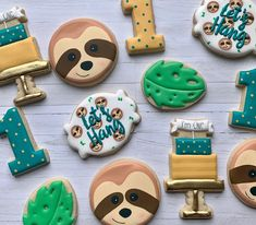 Sloth Happy Birthday, Baby First Birthday, 1st Boy Birthday, Boy Birthday Parties, Birthday Party Decorations, Birthday Ideas, Birthday Cookies, First Birthdays, Emerson