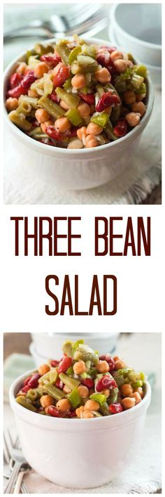 Three Bean Salad has a sweet and sour flavor from the vinegar and sugar.  It also get's a little kick from the dried mustard and cayenne pepper in the recipe.