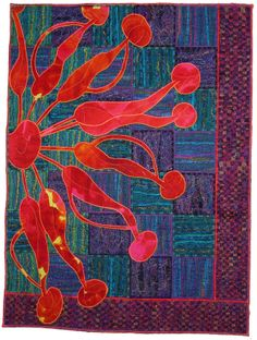 close up,  In a Whirl by Susan Mathews (Australia).  Sumptuous Surfaces class at Avonleigh Country Quilting