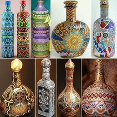 48 trendy craft projects with wine bottles Painted Glass Bottles, Glass Bottle Crafts, Glass Jars, Painted Vases, Empty Wine Bottles, Wine Bottle Art, Mosaic Pots, Jar Art, Dot Art Painting