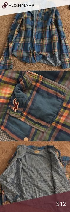 HOLLISTER - plaid button up Hollister plaid button up with yellow, blue, green and orange. Is a small but runs more like a medium. 100% cotton, very soft and breathable. Hollister Tops Button Down Shirts