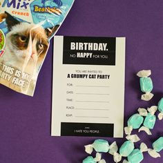 grumpy cat party ideas Informations About grumpy cat party ideas Pin You can ea 10th Birthday Parties, Boy Birthday, Happy Birthday, Grumpy Cat Birthday, 13th Birthday Invitations, Party Invitations, Party Themes, Party Ideas, Cat Party