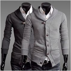 Men's Slim Fit Shawl Collar Cardigan - In both colors!