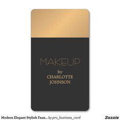 Modern Elegant Stylish Faux Gold Grey MakeupArtist Standard Business Card
