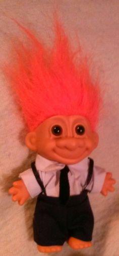 Russ Berrie Troll Doll Wall Street? Orange Hair Pants Shirt Tie Suspenders 18584