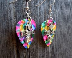 I Heart Baseball Charm Guitar Pick Earrings - Pick Your Color, Custom, Baseball, Sport by ItsYourPick on Etsy