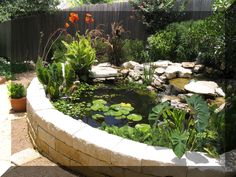 A raised pond Make it at least 3 feet deep to keep Raccoon's out and give the fish hiding places. Put an upside down plastic milk crate with extra wide openings on 2 sides Top it with a rock or potted plant. Fountains Backyard, Landscaping Water Feature, Water Features In The Garden, Backyard Landscaping, Koi Pond Design, Ponds Backyard, Landscaping With Rocks, Fish Pond Gardens, Backyard