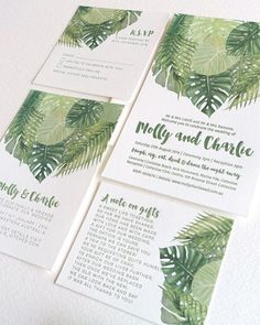 Wedding Invitation Trends for 2017 | Green Foliage Wedding Invitation Suite