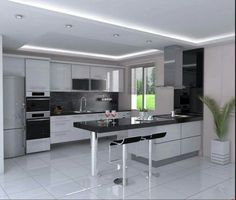 Outstanding modern kitchen room are available on our internet site. Take a look and you wont be sorry you did. Modern Kitchen Diy, Modern Kitchen Interiors, Luxury Kitchen Design, Kitchen Room Design, Modern Kitchen Cabinets, Kitchen Cabinet Design, Living Room Kitchen, Home Decor Kitchen, Interior Design Kitchen