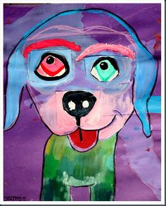 eyes and nose done on notecards, attached, dog painted around