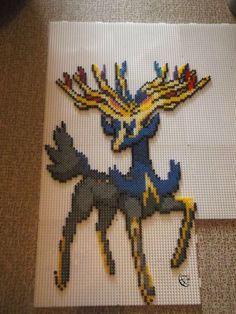 Xerneas Perler beads Commission by Cimenord on DeviantArt Hama Beads Patterns, Beading Patterns, Pokemon Cross Stitch, Anime Crafts, Pokemon Craft, Pokemon Perler Beads, Peler Beads, Iron Beads, Beaded Cross Stitch