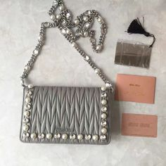 0487d4c6d38 Miu Miu Crystal   Pearl Matelasse Nappa Leather Flap Shoulder Bag 5MP001  Gray 2017