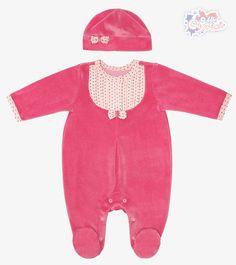 Велюровый комбинезон с шапочкой для девочки - Интернет-магазин детской одежды «Сами с Усами»