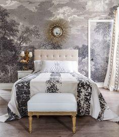 My Widows Walk Bedroom | * T h e * V i s u a l * V a m p *- love this from Valorie!! great mix and use of grisaille!!