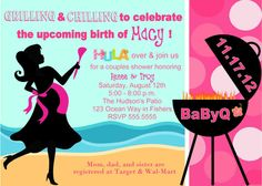 digital babyq bbq pink hula girl barbecue baby shower silhouette invitation printable diy