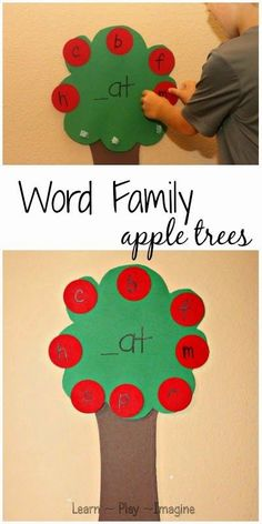 To go along with our apple unit study I put together a word family apple tree activity to help him as he is learning to read. Kindergarten Apple Unit Study J-Bug has been learning to read, and I& noticed that he does really well with word families…. Phonics Activities, Kindergarten Literacy, Literacy Centers, Kindergarten Projects, Word Family Activities, Apple Activities, Tree Study, Apple Unit, Early Education