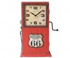 Wanduhr Parilar 29x42 Rot Vintage Zapfsäule zum Öffnen Bild 1