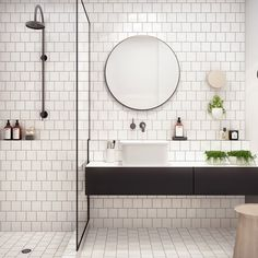 White bathroom ideas with white subway tile bathroom and floating vanity and sink plus shower room and round mirror bathroom for small bathroom decorating ideas Laundry In Bathroom, Bathroom Inspo, Bathroom Interior, Bathroom Inspiration, Bathroom Designs, Mirror Bathroom, Master Bathroom, Bathroom Table, Bathroom Vanities
