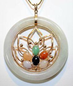 VINTAGE 1960'S NEPHRITE & MULTI-COLORED JADE CIRCLE PENDANT Y.GOLD - $10K Value!