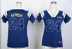 Nike Womens Seattle Seahawks #24 Marshawn Lynch Blue  Fashion Rhinestone Sequins Jersey